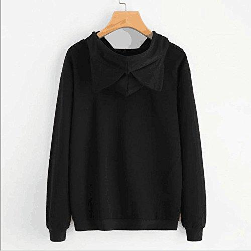 Vertvie Femme Sweat-Shirt à Capuche Oreilles de Chat Tops Blouse Pull Imprimé Noir 1
