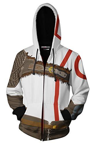 Kratos Kostüm - MingoTor Herren Damen Kratos für God of War Kapuzenjacke 3D Pullover mit Kapuze Sweatjacke Hoodie Cosplay Kostüm Unisex