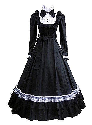 Tiny Time Damen Schwarz Lolita Lange Ärmel BallGown Gothic Party Kleid (XS, Schwarz) (Kleid Ärmel Lolita)