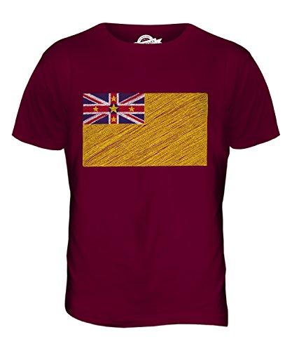 CandyMix Niue Kritzelte Flagge Herren T Shirt Burgunderrot