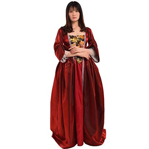 BLESSUME Vintage viktorianischen Barock Kleid vermisst kolonialen Rokoko Jahrhundert Mittelalterliche Frauen Kostüm Kleid (L, Weinrot)