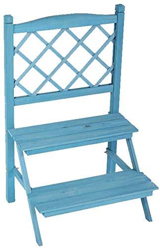 HUNYUAN-LF Pflanze Flower Stand Massivholz-Kombination Faltbare TV Schrank-Speicher Innen Wohnzimmer (Color : Blue)
