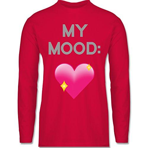 Shirtracer Statement Shirts - My Mood: Glitzerherz - Herren Langarmshirt Rot