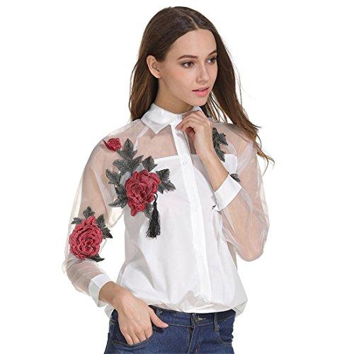 Damen Bluse Btruely Heiße Gestickt Shirt Beiläufig Langarm Hemd Hohl Mesh Garn Top (S, Weiß) Abbildung 2