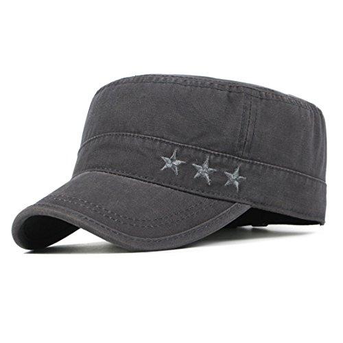 Kuyou Vintage Schirmmütze Baseball Kappe Army Military Cap Mütze (Grau)