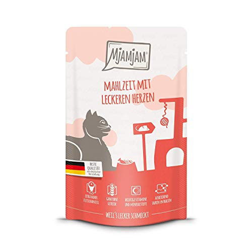 MjAMjAM - Premium Nassfutter für Katzen - Quetschie - Mahlzeit mit leckeren Herzen, 12er Pack (12 x...