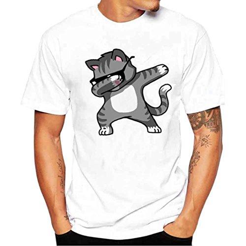 OHQ T-Shirt Gedruckt für Männer Weiß Männer Druck T-Shirts Humor Paar Mann Sport Mode Chic Original Günstige Ärmel Shirt Kurzarm T-Shirt Bluse (3XL)