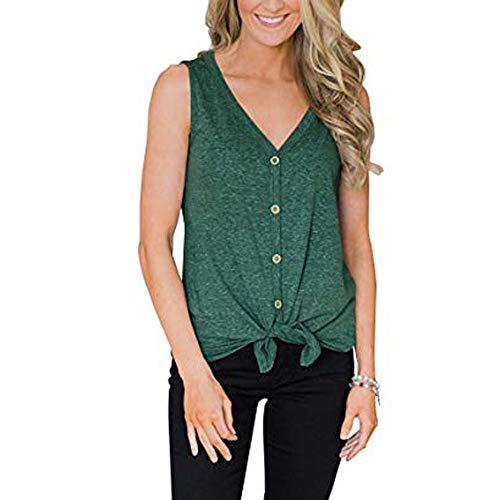 iHENGH Damen Sommer Top Bluse Bequem Lässig Mode T-Shirt Blusen Frauen Womens Button V Ausschnitt Sexy Weste Fashion Camisole Tops Ärmelloses T-Shirt(Grün, M)