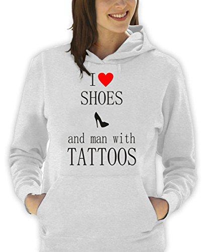 """felpa con cappuccio humor frasi simpatiche """"I love shoes and man with tattoos"""" - tutte le taglie uomo donna S M L XL XXL maglietta by tshirteria"""