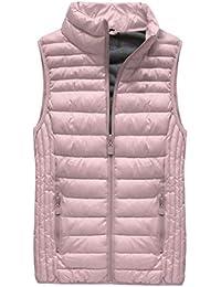 92a02df90a8bcf Yam Yam Fashion Damen Westen Gesteppte Weste Puder Rosa (B2 Bezr-B2608-30