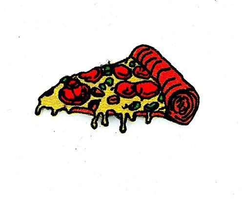 Toppa termoadesiva ricamata per zaino, a forma di pezzo di pizza