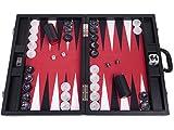 Wycliffe Brothers Juego de Backgammon Profesional de 21 Pulgadas, Estuche Negro con Campo Rojo, edición Masters