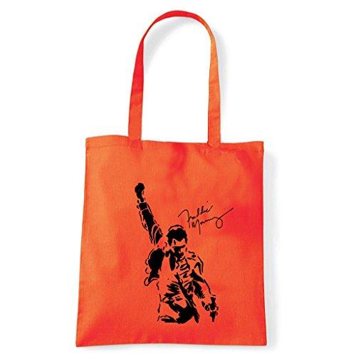 Art T-shirt, Borsa Shoulder Freddy Mercury Queen Arancio