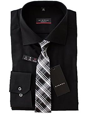 ETERNA Hemd, Schwarz, Modern Fit, Bügelfrei, mit passender Seidenkrawatte
