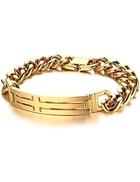 joielavie Schmuck Armband Armreif Kreuz Kruzifix ID Tag vergoldet Gold Ton kubanischen Kette Edelstahl Link Armband...