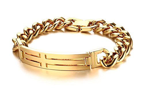 joielavie Schmuck Armband Armreif Kreuz Kruzifix ID Tag vergoldet Gold Ton kubanischen Kette Edelstahl Link Armband Hand Kette Geschenk für Herren