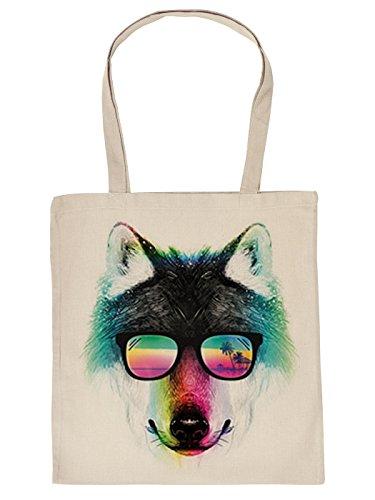 Stofftasche mit buntem Motiv: Summer Wolf, Wolf mit Sonnenbrille - Einkaufstasche aus Baumwolle - Farbe: Creme