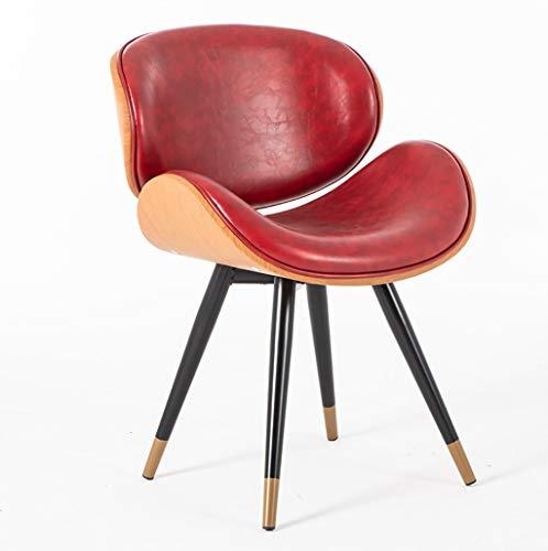 Du hui Accent Wohnzimmer Sessel Esszimmerstuhl Beistellstuhl Mit Metallbeinen, Mid Century Modern Lounge Chair Mit Rückenlehne, (Color : Red) -
