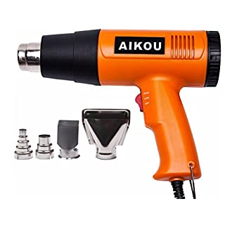 Heat Gun with 50℃~600℃ Adjustable Temperature and Air Flow Settings,Professional 1800W Hot air Gun for Stripping Paint,Shrinking PVC,Cleaning Grill, Bending or Soldering Pipes(Orange)