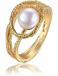 Jewelrypalace 2ct Retro Einzigartige Perle Mit Galvanotechnik 18K Gelbgold Hochzeit Verlobung Trauung Partner Geschenk Silberring Ring 925 Sterling Silber