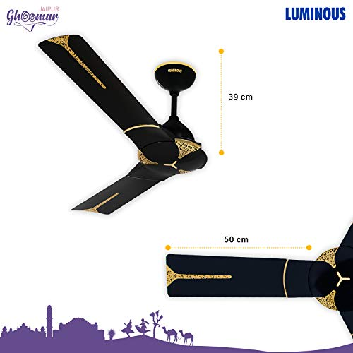 Luminous Jaipur Ghoomar 1200mm Ceiling Fan (Abu Black)