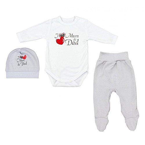 TupTam Unisex Baby Bekleidungsset mit Aufdruck 3 tlg, Farbe: I Love Mum and Dad Grau, Größe: 68