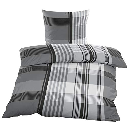 Casa Colori Renforce Baumwoll Bettwäsche 2 teilig Bettbezug 135 x 200 cm Kopfkissenbezug 80 x 80 cm Grau Anthrazit kariert
