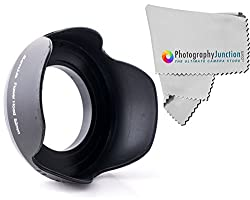 Sonia 52mm Screw on Tulip Shaped Flower Lens Hood + Free Photography Junction Premium Micro Fiber Cloth for Nikon 18-55mm DSLR D7100 D5200 D5100 D5000 D3300 D3200 D3100 D90 D80 D5500