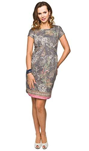 Elegantes und bequemes Umstandskleid, Sommerkleid, Modell: NEITIRI grau mit Blumenmuster