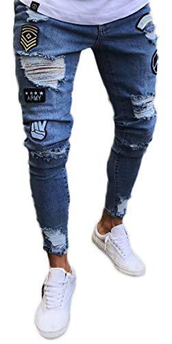PIZOFF Herren Superenge Skinny-Jeans in verwaschenem Blau mit Rissen an den Knien AM019-blue-M-new
