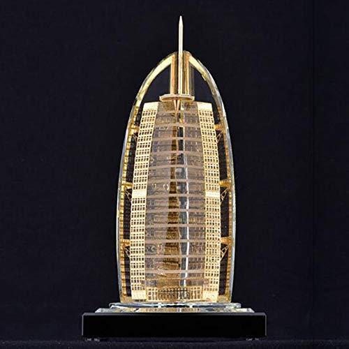 Sevens Einfach Kostüm - Dubai Seven Star Sailing Hotel Architekturmodell, Kristallarchitektur Skulptur, Inneneinrichtung, Gold, Geeignet FüR Wohnzimmer, BüRo, Touristische Souvenirs