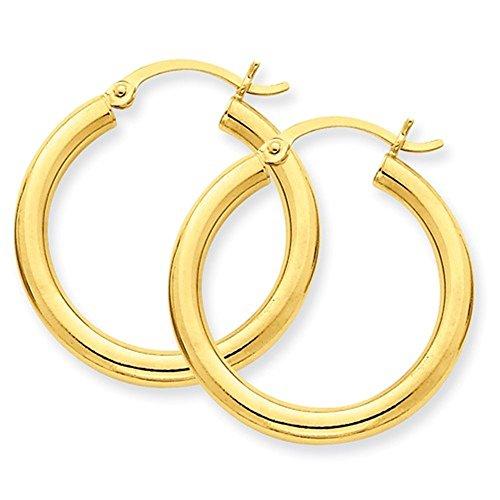 14K Gelb Gold 25mm x 3mm Classic Runde Hoop Ohrringe