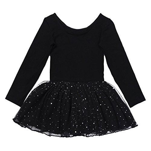 Langarm Trikot Schwarz Mädchen Kostüm - Freebily Kinder Ballettanzug Langarm Ballett Trikot