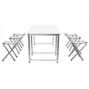 Amzdeal Table Camping portable, Table buffet traiteur pliante 180 cmavec poignée et 6 Chaises Pliantes pour camping, barbecues, pique-niques