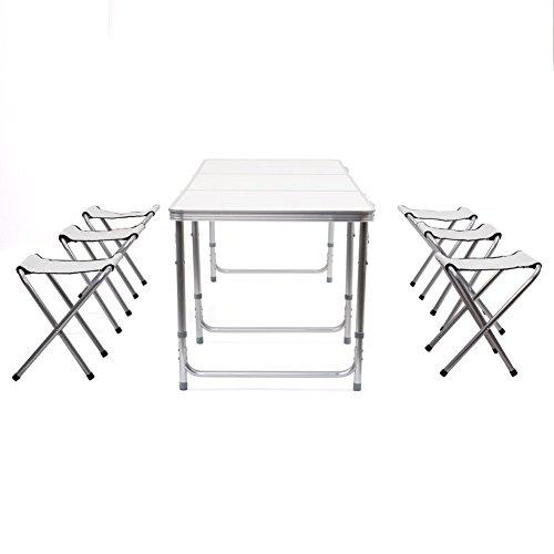 Amzdeal Table Camping portable, Table buffet traiteur pliante 180 cm avec poignée et 6 Chaises Pliantes pour camping, barbecues, pique-niques