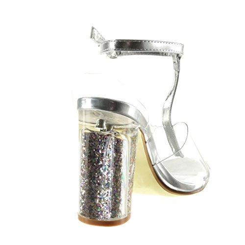 Angkorly Damen Schuhe Sandalen - T-Spange - Sexy - Transparent - Glitzer - String Tanga Blockabsatz High Heel 10 cm Silber