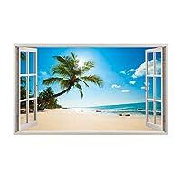 a052 Paradise beach Ocean Sea Island Wall Decal Poster 3D art Stickers Vinyl Roo (Large (90x52cm))