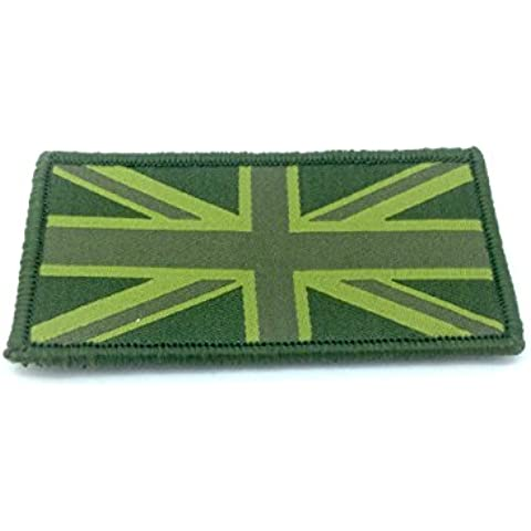 Sommesso Esercito Verde Union Jack Bandiera Ricamato Airsoft Velcro Patch Toppa