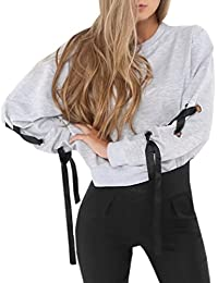 Freestyle Las Mujeres Otoño Invierno Cuello Redondo de Manga Larga T Shirt Casual Suelto Sudaderas Blusa