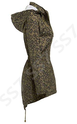 SS7 Damen Leopard Regenmantel, Khaki, Schwarz, Größen eu 36-44 Khaki/Schwarz