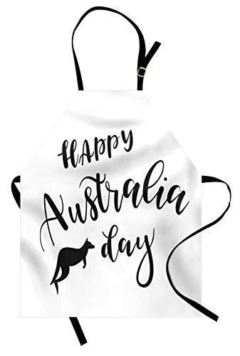 (ABAKUHAUS Australische Partei Kochschürze, Hand Schriftzug Stil glücklich Australien Day-Zitat mit Tier Silhouette, Farbfest Höhenverstellbar Waschbar Klarer Digitaldruck, Weiß und Schwarz)