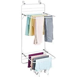 mDesign sèche-Linge pour Porte - étendoir à Linge Peu encombrant à accrocher en métal et Plastique - séchoir à Linge pour Salle de Bain ou buanderie - Blanc/Gris