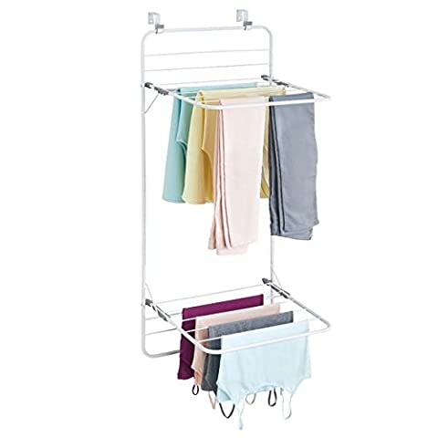 mDesign Clothes Rack for Hanging - Drying Rack With Plenty of Space for Laundry - Space-Saving Clothes Airer for Laundry Room & Household Room - White/Grey