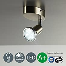 Lámpara de techo I Foco LED para techo y pared I Orientable I Incluye 1 LED GU10 I Color de la luz blanco cálido I Metal I Color níquel mate I 230 V I IP20 I 3 W