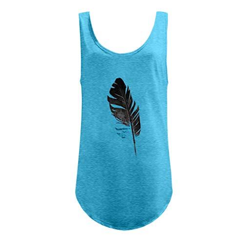 Likecrazy Frauen Tops T-Shirt Blatt Printing Lose Tank Tops Casual Einfache Damenbluse ärmellose Sommer Rundhals Oberteil Einfarbig Klein frisch ()