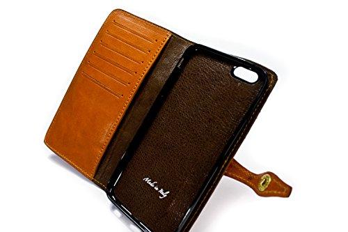 Nicola Meyer–iPhone 6S Plus et 6Plus 14cm Étui en cuir à rabat style livre avec 6emplacements pour cartes de crédit et billets Brandy