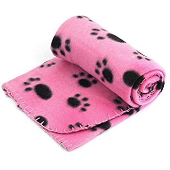 Divistar Chiot Couverture, 60 x 70 cm pour animal domestique Chat Lit doux chaud Dormir Tapis Imprimé pattes Doggy