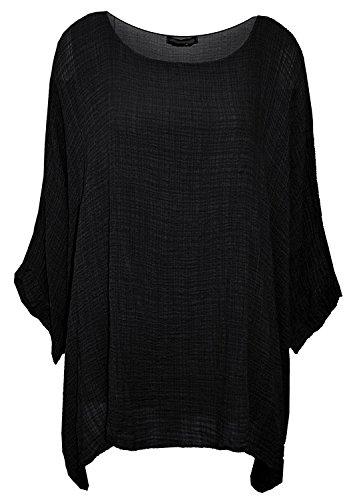 Gracious Girl Damen-Frauen Italian Cotton Plain Loose Fit Batwing Lagenlook Kimono Top Kleid Insert Vest Top One Size Plus-36-50 (Loose Fit-kids-shirt)