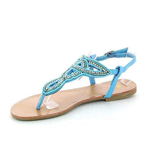 Go Mode - Flache sandalen zum einfügen - Frau Blau - blau