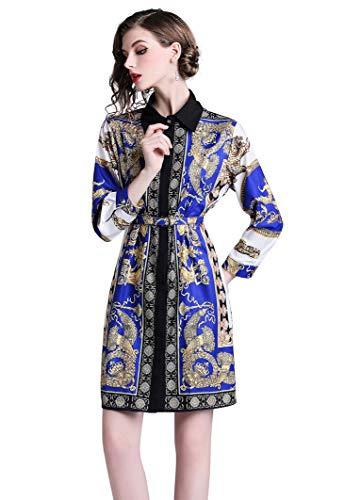 LAI&MENG Damen 3/4-Arm Boho Stil Kleider mit Blumenmuster Casual A-Linie Midikleid Partykleid